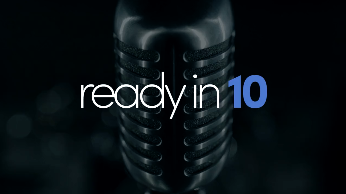 microphone with ready in 10 logo
