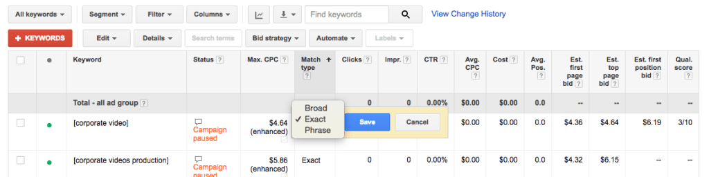 adwords match type example